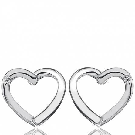 Ohrringe frauen silber Diamond Heart herz