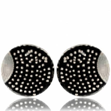 Ohrringe herren silber Minimaliste rond pixelisée  schwarz