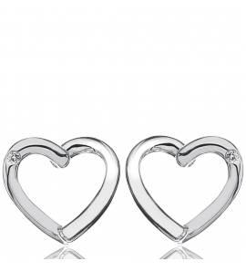 Oorbellen dames zilver Diamond Heart harten