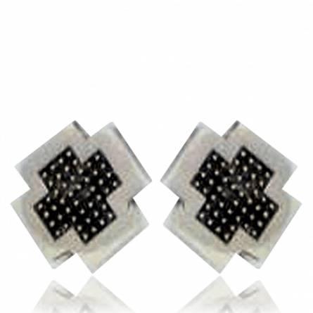 Oorbellen heren zilver Minimaliste pixelisée