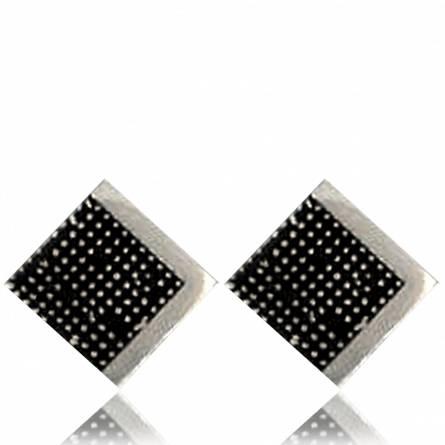 Oorbellen heren zilver Pixelisée  zwart
