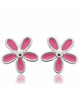 Orecchini bambino argento Petales rose rosa