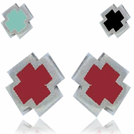 Orecchini uomo argento Minimaliste  rosso