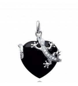 Pandantiv femei argint Bidelia inimioara negru