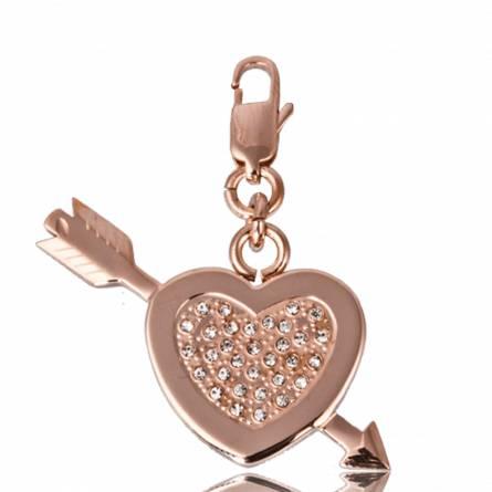 Pandantiv femei oțel  coeur fléché inimioara roz