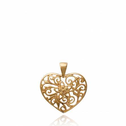 Pandantiv femei placate cu aur Ciselé floral inimioara