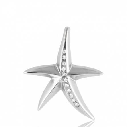 Pendentif acier étoile de mer & strass