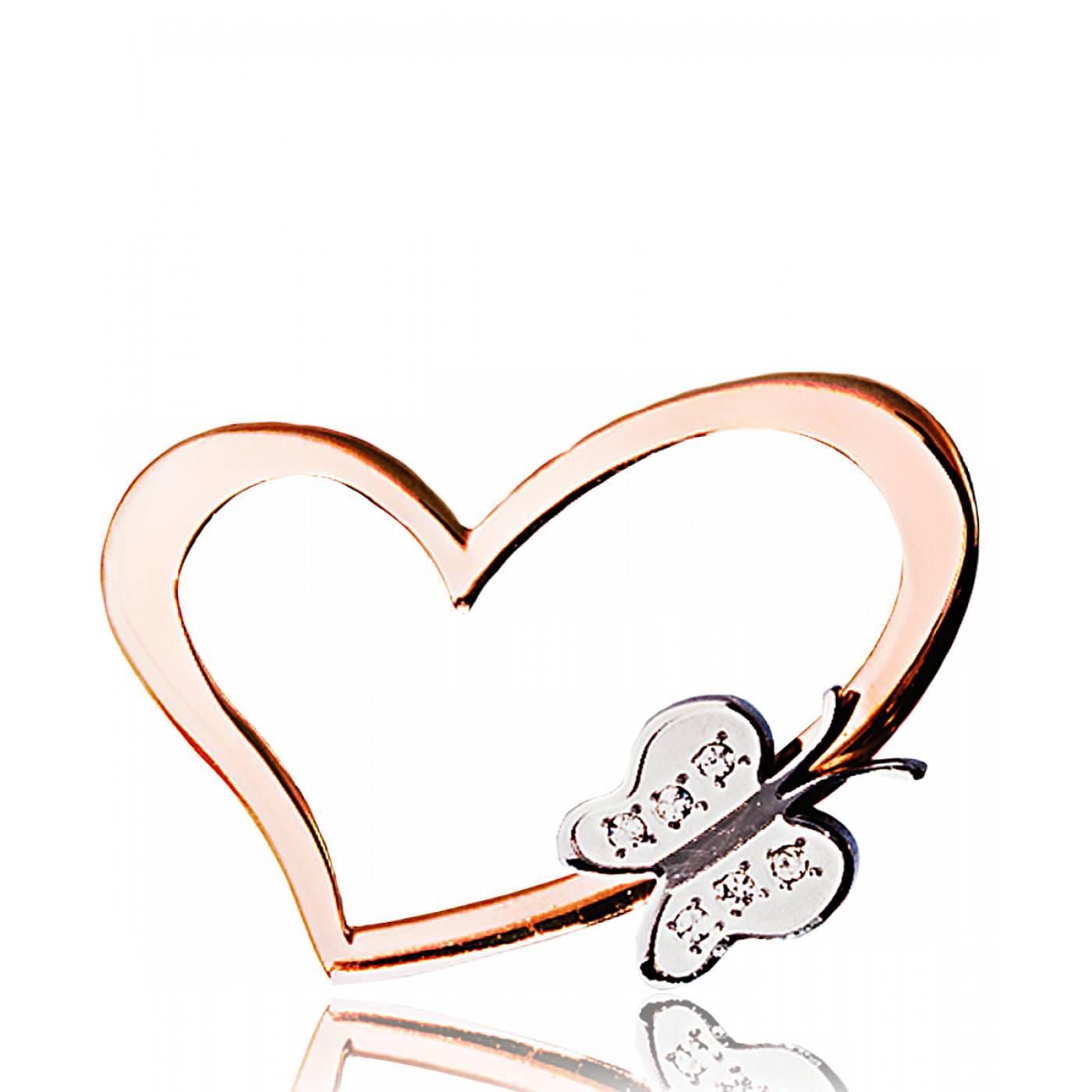 pendentif coeur femme butterfly or rose acier rose. Black Bedroom Furniture Sets. Home Design Ideas