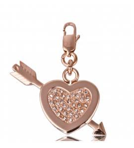Pendentif acier coeur fléché or rose