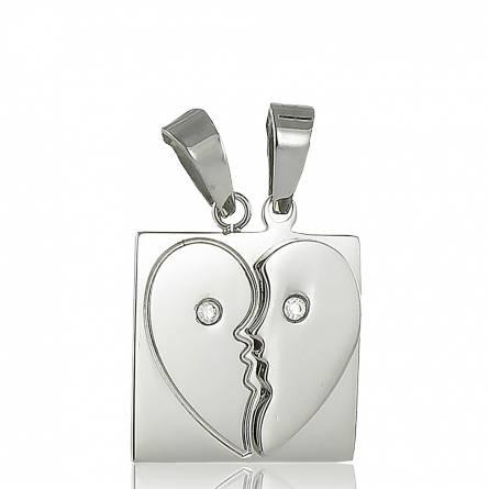 Pendentif acier double coeur strass