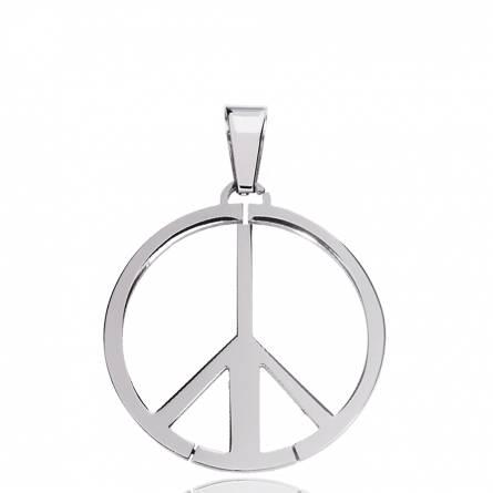 Pendentif acier peace and love