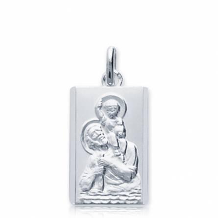 Pendentif argent Saint christophe rectangle