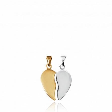 Pendentif Coeur Fendu Lisse bi-color