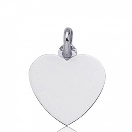 Pendentif Coeur Or Blanc Cupidon