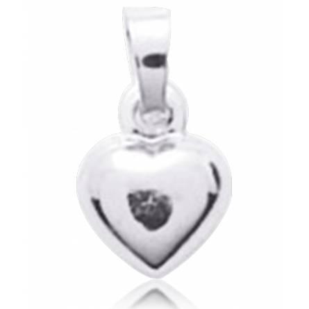 Pendentif Coeur Or Blanc Trésor