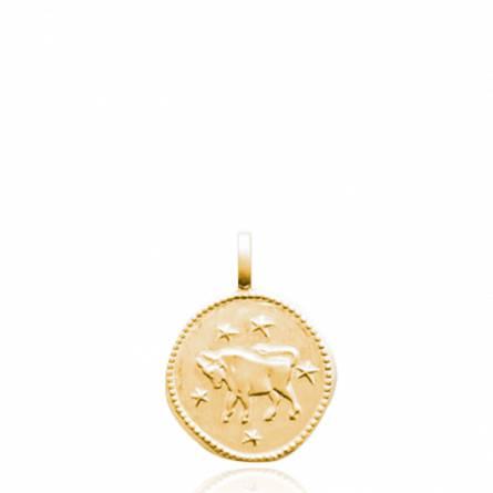 Pendentif enfant plaqué or Le taureau ronde