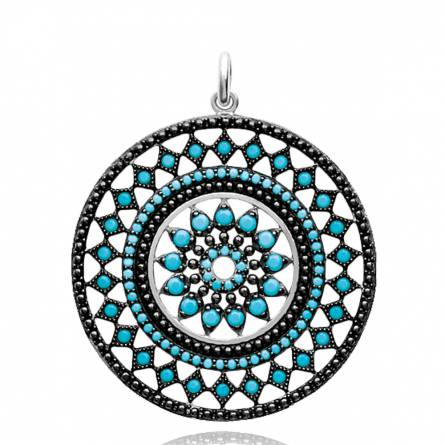 Pendentif femme argent Berenice ronde turquoise