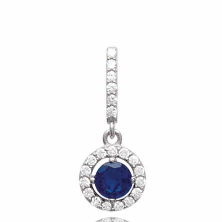 Pendentif femme argent Bernadett ronde bleu