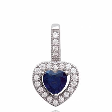 Pendentif femme argent Betrys coeur bleu
