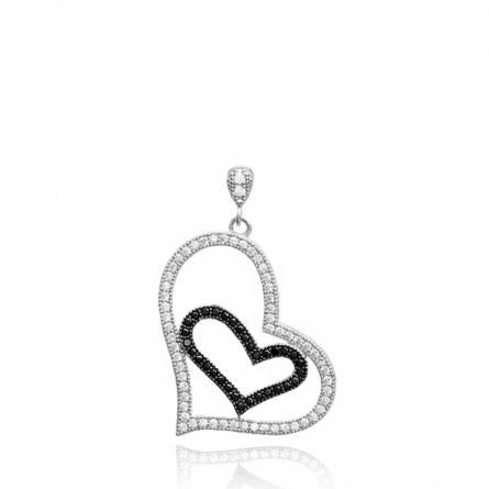 Pendentif femme argent Bine coeur noir
