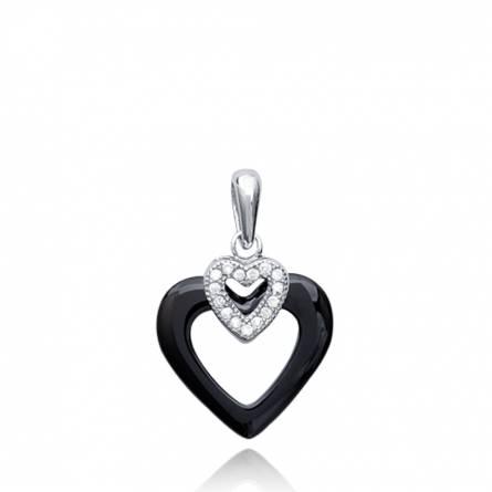 Pendentif femme céramique Basya coeur noir