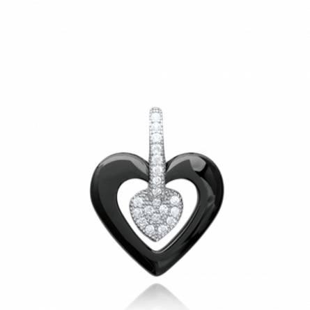 Pendentif femme céramique Blodeuwedd coeur noir