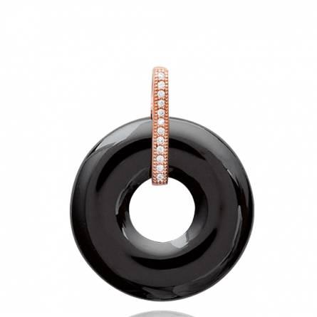 Pendentif femme céramique Britta ronde noir