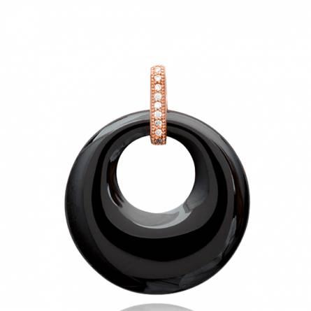 Pendentif femme céramique Brittani ronde noir