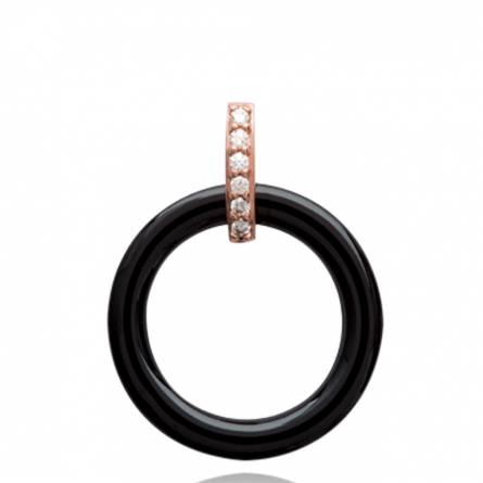 Pendentif femme céramique Crina ronde noir