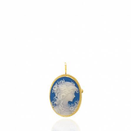 Pendentif femme or Cynala bleu