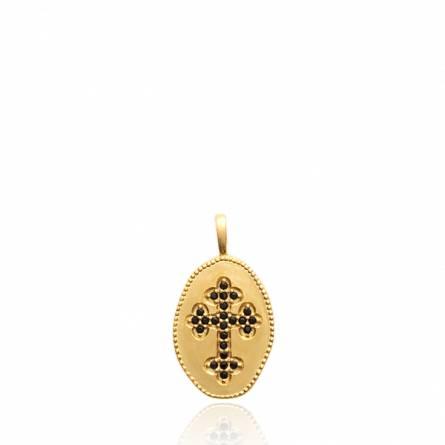 Pendentif femme pierre Mesise croix noir