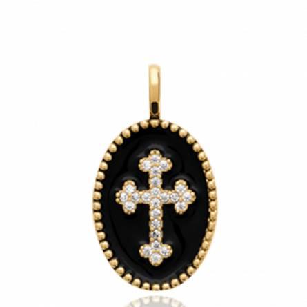 Pendentif femme plaqué or Jouri croix noir