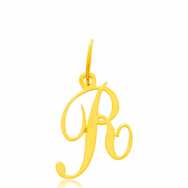Pendentif Lettre R Homme & Femme traditionnel Or Jaune 9 Carats