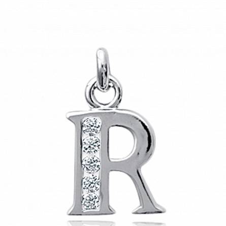 Pendentif lettre R rhodiée