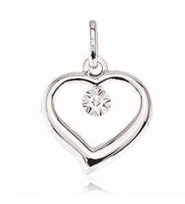 Pendentif or blanc diamant Amour