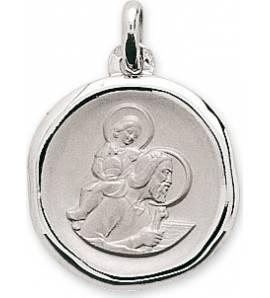 Pendentif Or blanc Saint Christophe et Jésus Christ