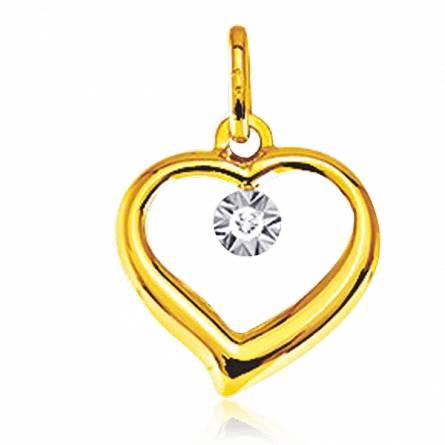Pendentif or jaune diamant Amour