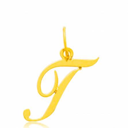 Pendentif or jaune lettre T traditionnel
