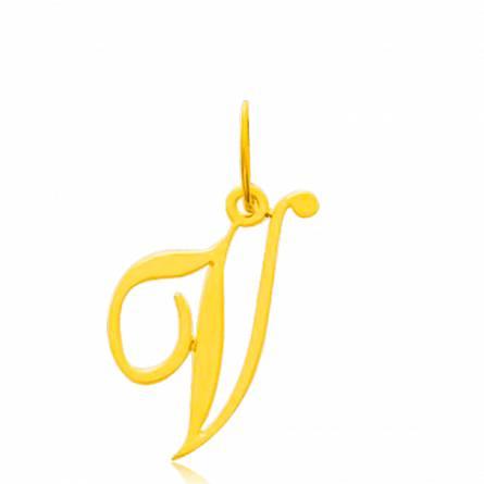 Pendentif or jaune lettre V traditionnel
