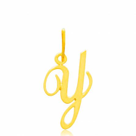 Pendentif or jaune lettre Y traditionnel
