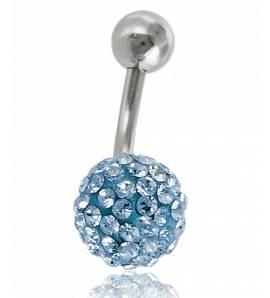 Piercing boule strass bleu clair Zenzo