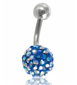 Piercing boule strass bleu foncé Zéphyr