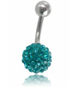 Piercing boule strass turquoise Zéphyrin