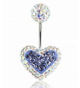 Piercing cristal coeur violet Zuzen