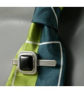 Pince à cravate Néo Berbère agathe noire carrée