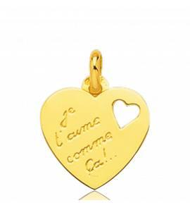 Pingente feminino ouro Je T'aime Comme ca coração amarelo