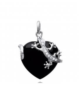 Pingente feminino prata Bidelia coração preto
