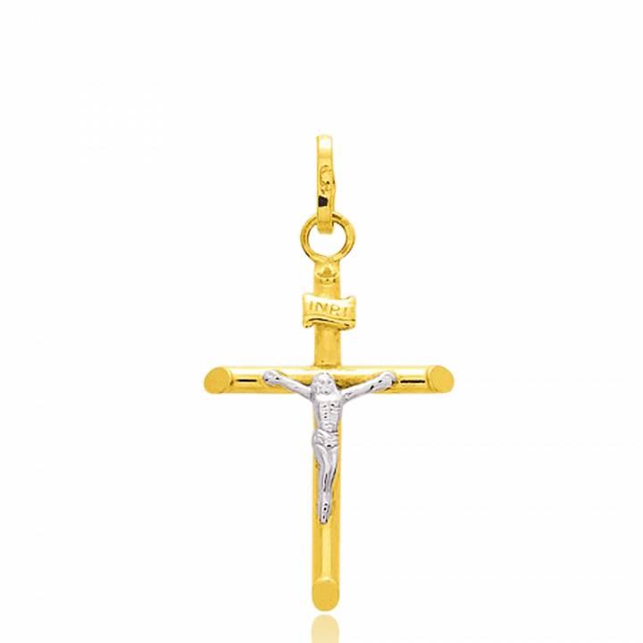 Pingente Cruz Masculino   Feminino Ivan Ouro Branco   Ouro Amarelo ... 93a0791d20