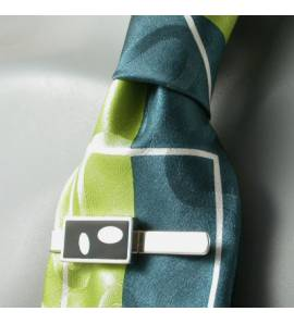 Prendedor de gravata masculino prata Art Déco Ovala