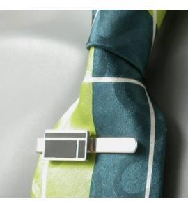 Prendedor de gravata masculino prata Art Deco Resine